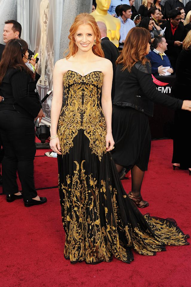 Jessica Chastain arrives at the 84th Annual Academy Awards in Hollywood, CA.