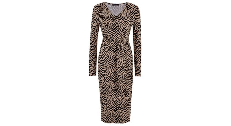 Zebra Print V-Neck Midi Bodycon Dress