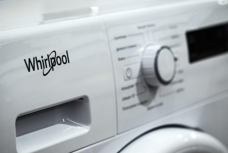 KIEV, UKRAINE - 2018/12/28: Whirlpool logo seen on the front of the automatic washing machine. (Photo by Igor Golovniov/SOPA Images/LightRocket via Getty Images)