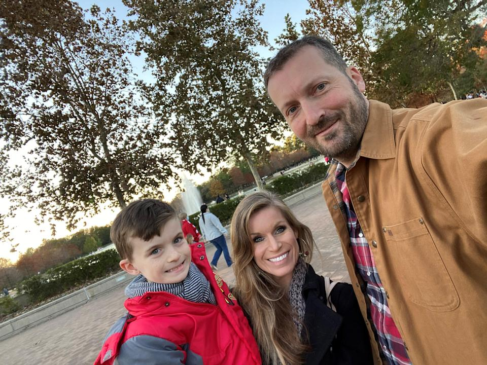 Bradley, Lindsay and Aaron Lewis, photographed here on December 20, 2020 in Houston, Texas, borrowed a 2021 Ford F-150 Hybrid pickup with Pro Power Onboard from AutoNation Ford Katy to heat the house during the mid-February blackout.