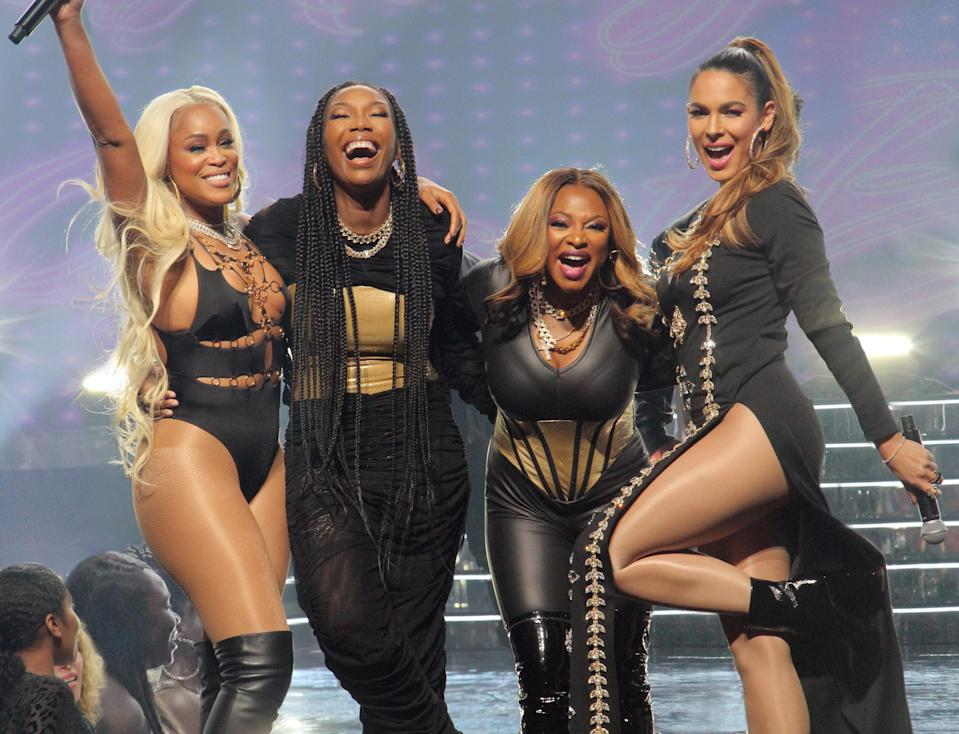 From left: Eve J. Cooper, Brandy Norwood, Nadine Velazquez and Naturi Naughton in 'Queens' - Credit: ABC