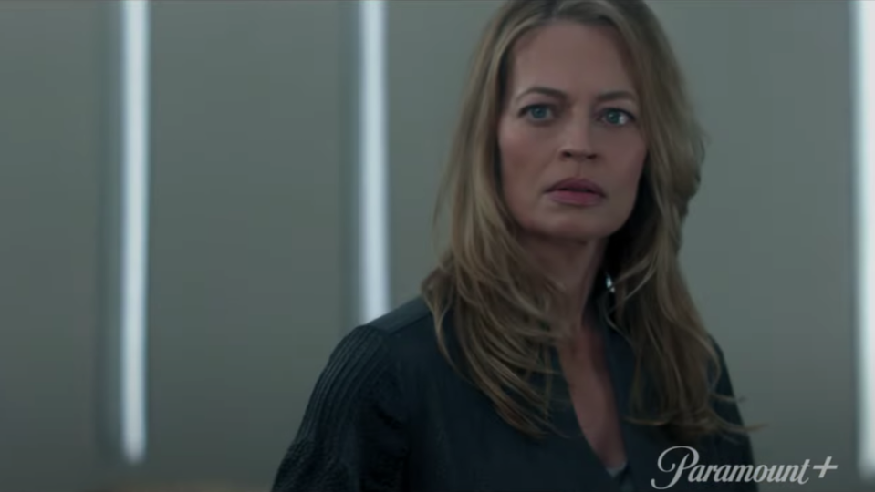 Jeri Ryan as Seven of Nine without her Borg facial implants.