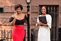 <p>Remy Ma and Gabrielle Union are seen on the set of <em>The Perfect Find</em> in Harlem on July 21.</p>