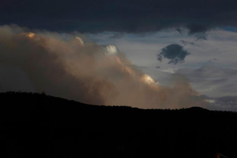 Smoke is seen from the Good Good fire on January 23, 2020 in Cooma, Australia. on January 23, 2020 in Cooma, Australia. Three American firefighters have have died after their C-130 water tanker plane crashed while battling a bushfire near Cooma in southern NSW on Thursday. (Photo by Jenny Evans/Getty Images) (Photo: Jenny Evans via Getty Images)