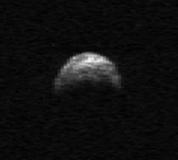 Near-Earth asteroid 2005 YU55, a potentially dangerous item, was photographed by the Arecibo radio telescope in Puerto Rico on April 19, 2010, about 1 million miles from Earth.