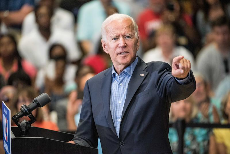 Joe Biden addresses a crowd at a town hall event at Clinton College on August 29, 2019 in Rock Hill, South Carolina. (Photo: Sean Rayford/Getty Images)