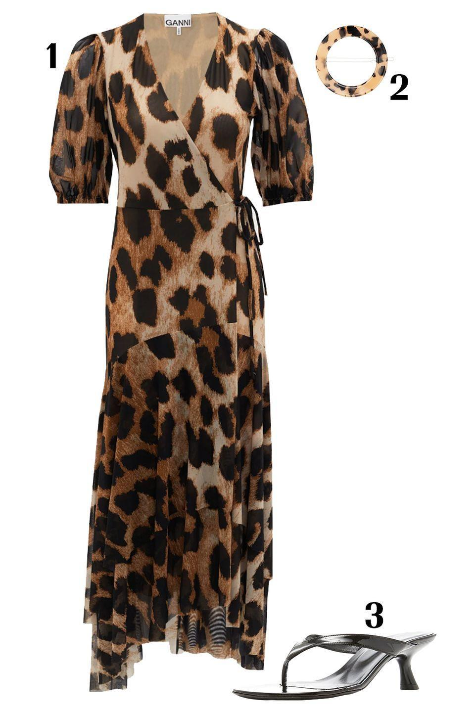 "<p>Woman on the prowl. This mesh leopard dress is a breathable fabric and perfect for summer temperatures that tip the scale. Pair with a matching clip for an effortless hair-do that takes no more than 30 seconds. And just like that, you're good to go. </p><p>1)<a href=""https://www.matchesfashion.com/us/products/Ganni-Leopard-print-wrap-mesh-dress-1341671"" rel=""nofollow noopener"" target=""_blank"" data-ylk=""slk:Ganni dress,"" class=""link rapid-noclick-resp""> Ganni dress,</a> $345 2) <a href=""https://www.farfetch.com/shopping/women/valet-studio-sarah-tortoiseshell-effect-round-hair-clip-set-item-14839151.aspx?storeid=9359"" rel=""nofollow noopener"" target=""_blank"" data-ylk=""slk:Valet Studio hair clip set"" class=""link rapid-noclick-resp"">Valet Studio hair clip set</a>, $80 3) <a href=""https://www.modaoperandi.com/simon-miller-ss20/beep-leather-thong-sandals-3?color=black&size=IT%2039&country=US&ranMID=37385&ranEAID=1808364&ranSiteID=J84DHJLQkR4-ctr_GooWnVZ.rdhZ5Z1fRw&mid=37385&utm_source=rakuten_affiliate&utm_medium=ShopStyle+%28US%29&utm_campaign=conversion&utm_term=&siteID=J84DHJLQkR4-ctr_GooWnVZ.rdhZ5Z1fRw"" rel=""nofollow noopener"" target=""_blank"" data-ylk=""slk:Simon Miller sandals"" class=""link rapid-noclick-resp"">Simon Miller sandals</a>, $390</p>"