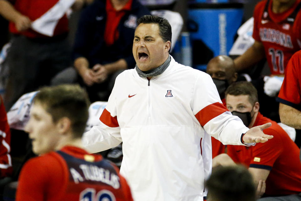 Arizona head coach Sean Miller reacts to a call during the second half of an NCAA college basketball game against UCLA Thursday, Feb. 18, 2021, in Los Angeles. UCLA won 74-60. (AP Photo/Ringo H.W. Chiu)