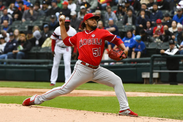 Los Angeles Angels relief pitcher Jaime Barria (51) delivers during the first inning of a baseball game against the Chicago White Sox, Sunday, Sept. 8, 2019, in Chicago. (AP Photo/Matt Marton)