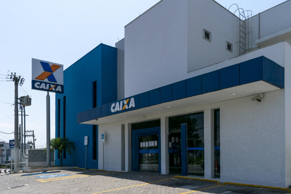 São Paulo, Brazil - July 31, 2020: Caixa Econômica Federal agency responsible for paying government assistance due to the Covid-19 pandemic.
