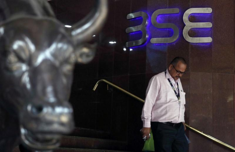 A man walks out of the Bombay Stock Exchange (BSE) building in Mumbai