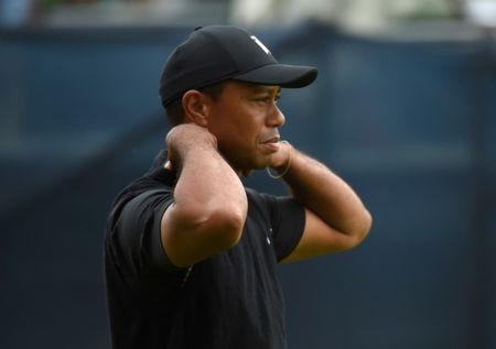 May 17, 2019; Bethpage, NY, USA; Tiger Woods reacts after his tee shot on the 15th hole the second round of the PGA Championship golf tournament at Bethpage State Park - Black Course. Mandatory Credit: Peter Casey-USA TODAY Sports