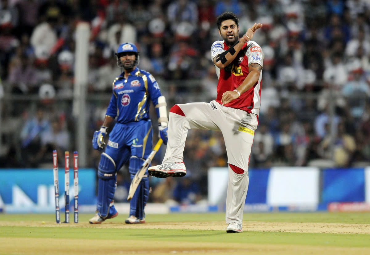 Manpreet Gony of Kings XI Punjab celebrates the wicket of Dinesh Karthiki of Mumbai Indians during match 41 of the Pepsi Indian Premier League ( IPL) 2013  between The Mumbai Indians and the Kings XI Punjab held at the Wankhede Stadium in Mumbai on the 29th April 2013 (BCCI)