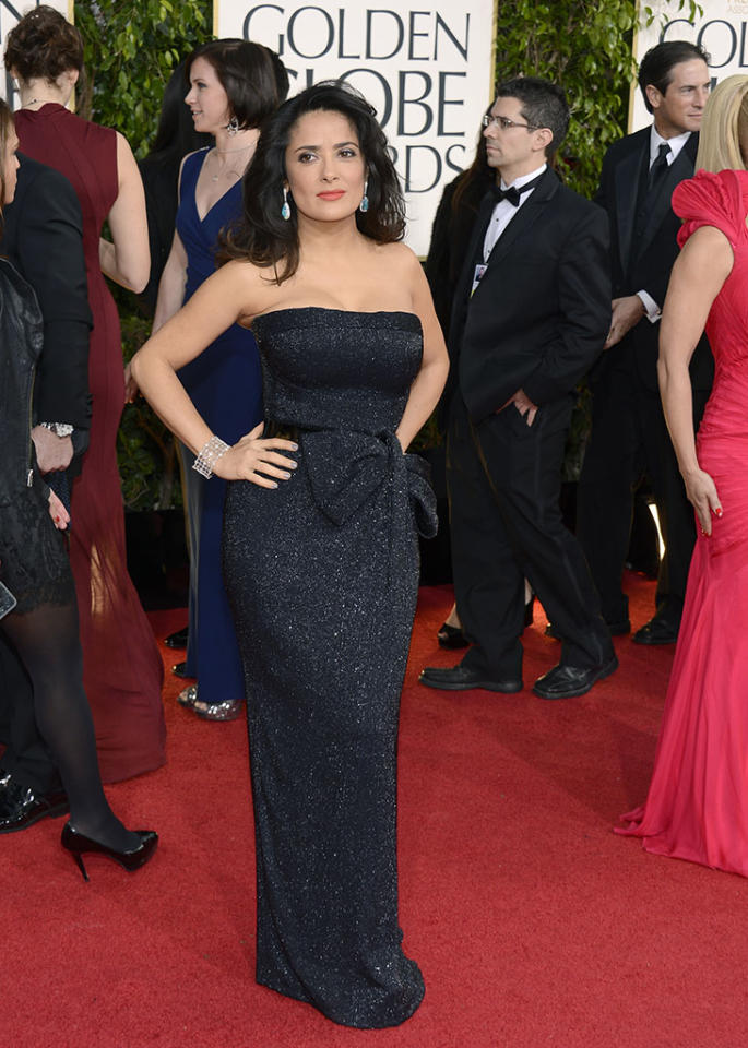 Salma Hayek arrives at the 70th Annual Golden Globe Awards at the Beverly Hilton in Beverly Hills, CA on January 13, 2013.