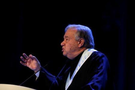 U.N. Secretary General Antonio Guterres gives a speech during a ceremony at Lisbon University where Guterres received his honoris causa degree, Portugal February 19, 2018. REUTERS/Rafael Marchante