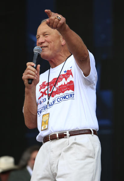 Barry Switzer opens the Oklahoma Twister Relief Concert at the Gaylord Family-Oklahoma Memorial Stadium on Saturday, July 6, 2013 in Norman, Okla. (Photo by Alonzo Adams/Invision/AP)
