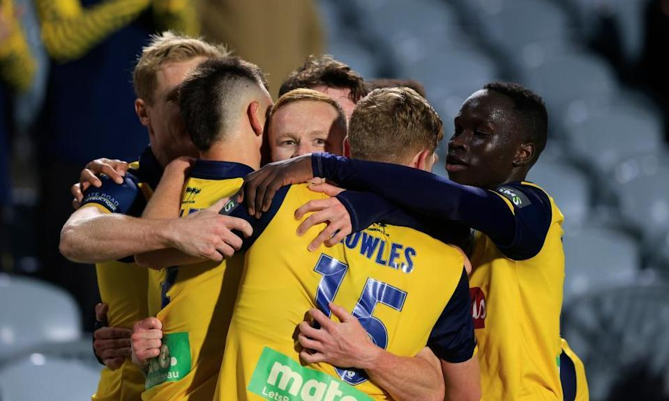 Jack Clisby with Central Coast Mariners teammates
