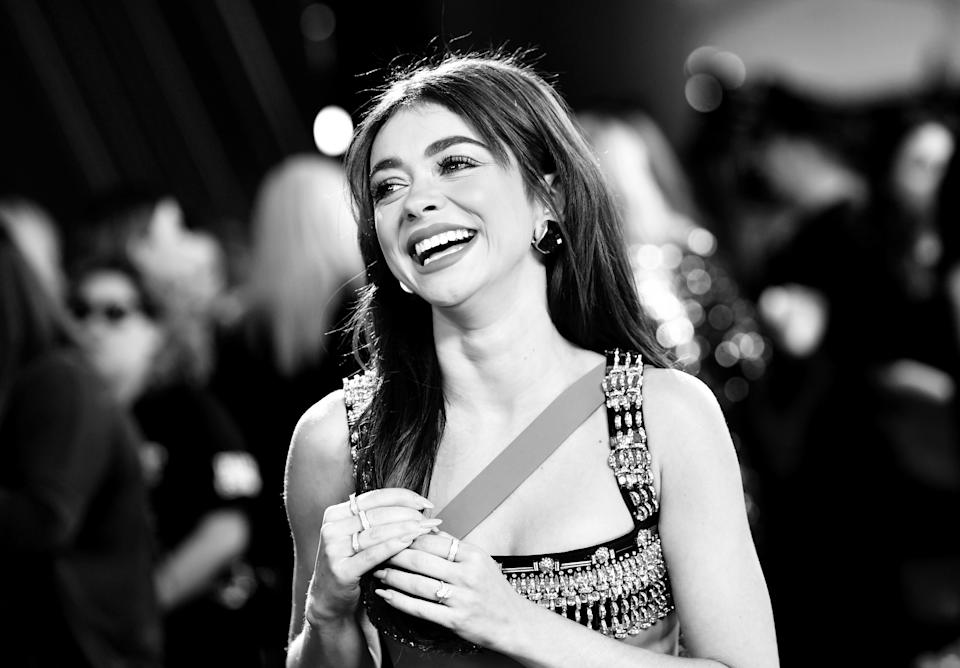 SANTA MONICA, CALIFORNIA - NOVEMBER 10: 2019 E! PEOPLE'S CHOICE AWARDS -- Pictured: (EDITORS NOTE: This image has been converted to black and white. Color version available.) Sarah Hyland arrives to the 2019 E! People's Choice Awards held at the Barker Hangar on November 10, 2019. -- NUP_188994  (Photo by Emma McIntyre/E! Entertainment/NBCU Photo Bank via Getty Images)