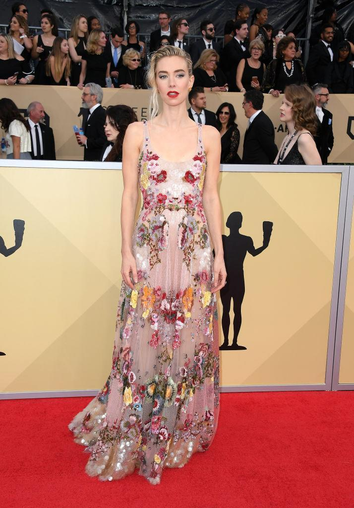 <p>Sheer florals were a trend of the evening, which Kirby played well. (Photo: Getty Images) </p>