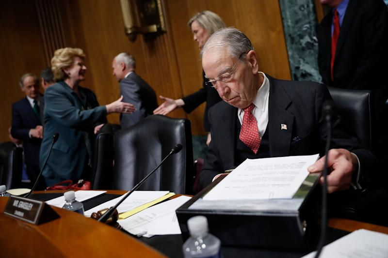 Sen. Chuck Grassley, R-Iowa chairman of the Senate Finance Committee, arrives for a hearing with drug company CEOs on drug prices, Tuesday, Feb. 26, 2019 on Capitol Hill in Washington. (AP Photo/Pablo Martinez Monsivais)