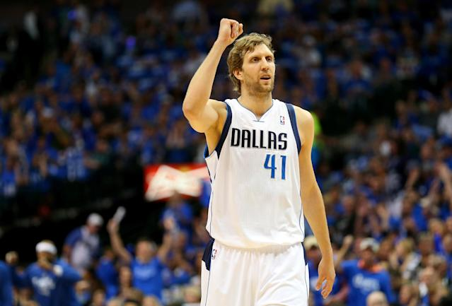 DALLAS, TX - MAY 02: Dirk Nowitzki #41 of the Dallas Mavericks reacts against the San Antonio Spurs in Game Six of the Western Conference Quarterfinals during the 2014 NBA Playoffs at American Airlines Center on May 2, 2014 in Dallas, Texas. NOTE TO USER: User expressly acknowledges and agrees that, by downloading and or using this photograph, User is consenting to the terms and conditions of the Getty Images License Agreement. (Photo by Ronald Martinez/Getty Images)