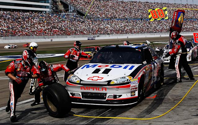 LAS VEGAS, NV - MARCH 11: Tony Stewart, driver of the #14 Mobil 1/Office Depot Chevrolet, pits during the NASCAR Sprint Cup Series Kobalt Tools 400 at Las Vegas Motor Speedway on March 11, 2012 in Las Vegas, Nevada. (Photo by Tom Pennington/Getty Images)