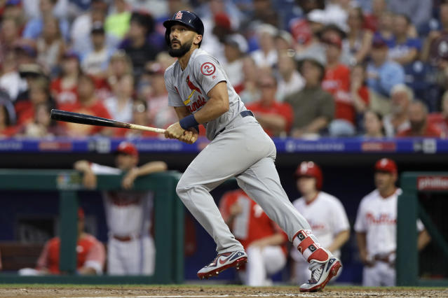 St. Louis Cardinals' Matt Carpenter watches after hitting a home run off Philadelphia Phillies starting pitcher Nick Pivetta during the third inning of a baseball game, Monday, June 18, 2018, in Philadelphia. (AP Photo/Matt Slocum)