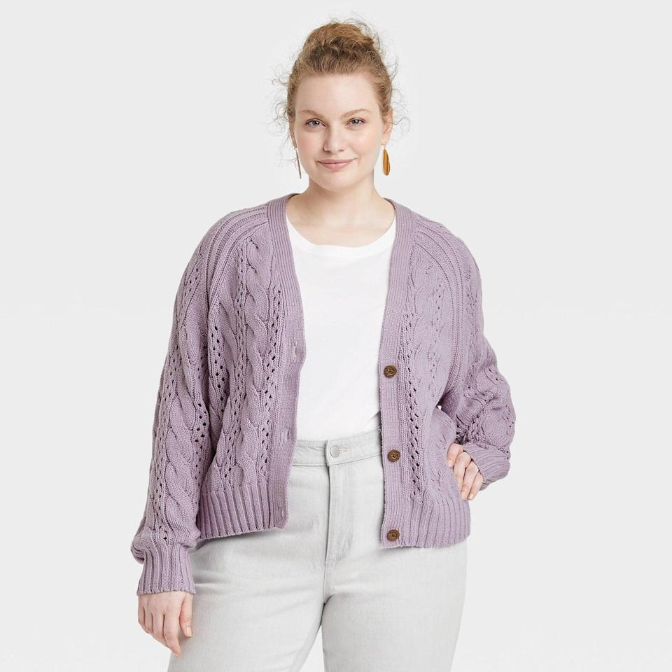 <p>You can't go wrong with a cable knit. This <span>Universal Thread Button-Front Cable Stitch Cardigan</span> ($30) comes in such a pretty purple color.</p>