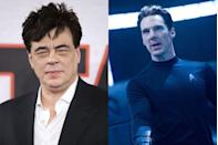 "<p>Del Toro was in talks to play the iconic villain Khan in the 2013 <em>Star Trek</em> sequel, but the star walked away from negotiations after he and the production weren't able to agree on the pay, <a href=""http://www.vulture.com/2011/12/benicio-del-toro-star-trek-sequel-khan.html"" rel=""nofollow noopener"" target=""_blank"" data-ylk=""slk:Vulture reported"" class=""link rapid-noclick-resp"">Vulture reported</a>. The buzzy part ended up in the lap of Benedict Cumberbatch instead.</p>"