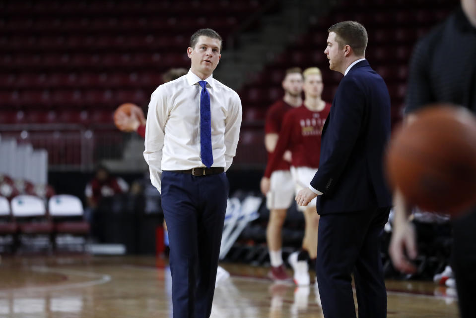 CHESTNUT HILL, MA - NOVEMBER 27: Saint Louis Billikens assistant coach Ford Stuen and director of basketball operations Michael Wilson before a game between the Boston College Eagles and the Saint Louis Billikens on November 27, 2019, at Conte Forum in Chestnut Hill, Massachusetts. (Photo by Fred Kfoury III/Icon Sportswire via Getty Images)