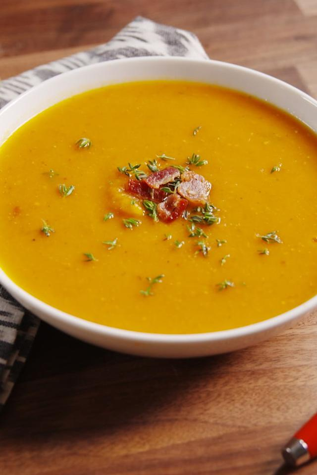 "<p>Basically this soup is the best of fall in a bowl.</p><p>Get the recipe from <a rel=""nofollow"">Delish</a>.</p>"