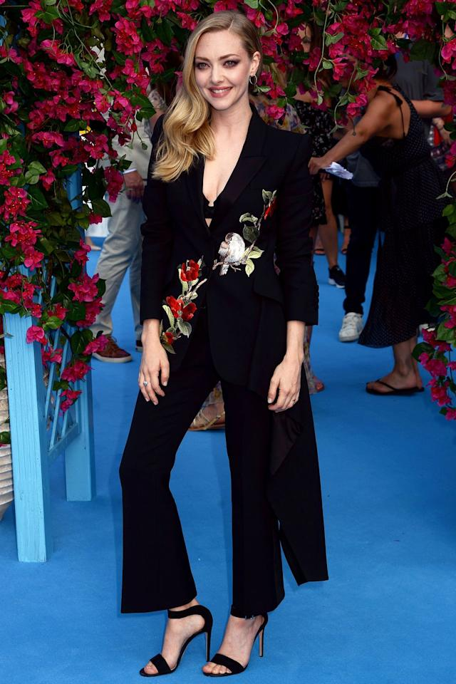 <p><strong>16 July </strong>Amanda Seyfried looked elegant in an embroidered floral Alexander McQueen trouser suit. </p>