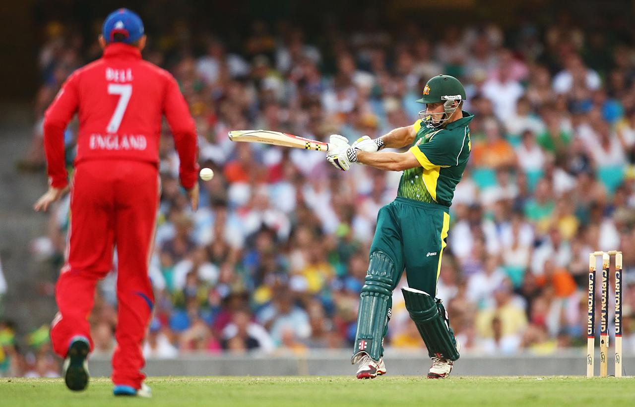 SYDNEY, AUSTRALIA - JANUARY 19: Shaun Marsh of Australia bats during game three of the One Day International Series between Australia and England at Sydney Cricket Ground on January 19, 2014 in Sydney, Australia.  (Photo by Mark Nolan/Getty Images)