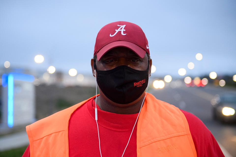 Union organizer Steve (no last names given) stands outside an Amazon fulfillment center on March 27, 2021 in Bessemer, Alabama. - Amazon Alabama workers are trying to unionize with the Retail, Wholesale and Department Store Union (RWDSU) in Birmingham, as clashes intensified between lawmakers and the e-commerce giant ahead of a deadline for a vote that could lead to the first union on US soil at the massive tech company. The visit marks the latest high-profile appearance in the contentious organizing effort for some 5,800 employees at Amazon's warehouse in Bessemer which culminates next week. (Photo by Patrick T. FALLON / AFP) (Photo by PATRICK T. FALLON/AFP via Getty Images)