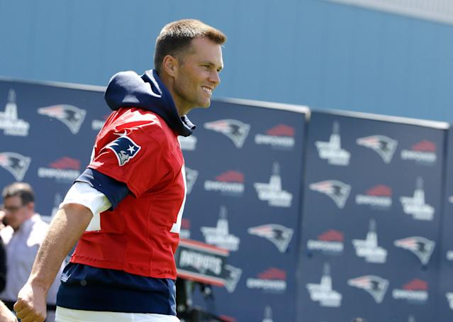 New England Patriots quarterback Tom Brady said his trademark was to block others from using 'Tom Terrific' in his name. (AP Photo/Steven Senne)