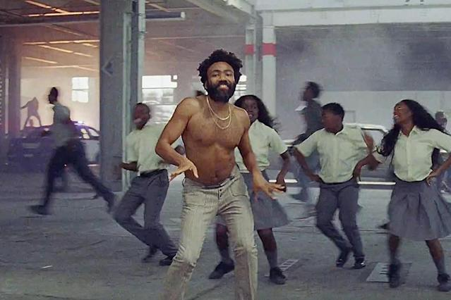 "Donald Glover, aka Childish Gambino, in the ""This Is America"" video. (Photo: Childish Gambino/Vevo via YouTube)"