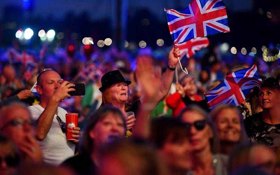 Revellers wave British flags as they enjoy The Last Night of the Proms - DYLAN MARTINEZ /REUTERS