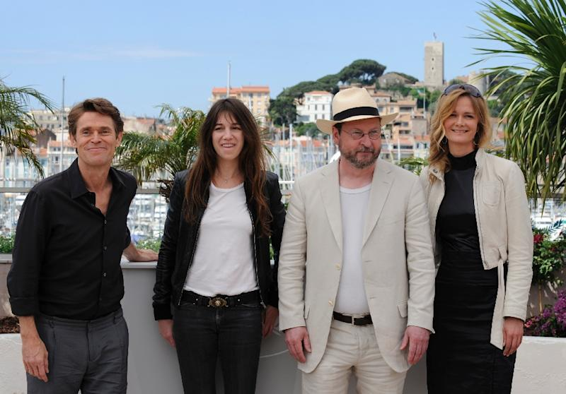 """(Left to Right) Willem Dafoe, Charlotte Gainsbourg, Lars Von Trier and Meta Louise Foldager promoted """"Antichrist"""" during the 62nd Cannes Film Festival in 2009 (AFP Photo/Anne-Christine Poujoulat)"""