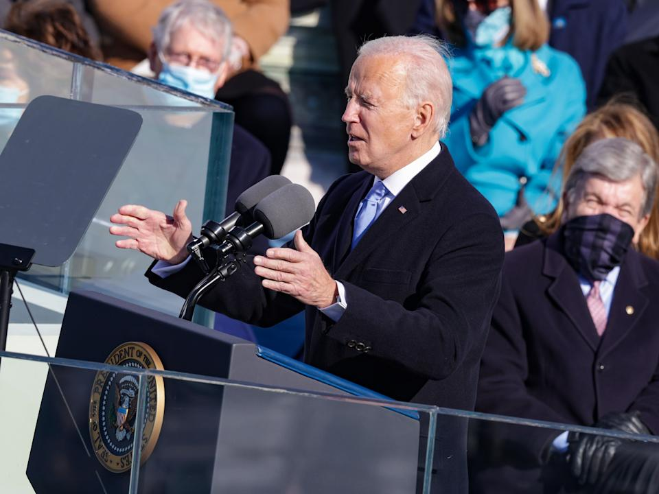 <p>US President Joe Biden delivers his inaugural address on the West Front of the Capitol on 20 January 2021 in Washington, DC</p> ((Getty Images))