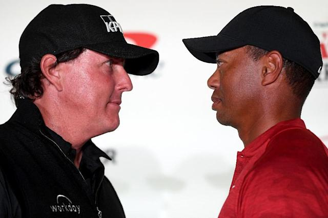 Phil Mickelson and Tiger Woods went head-to-head in the one-round, winner-takes-all exhibition in front of an invitation-only crowd in Las Vegas (AFP Photo/Harry How)