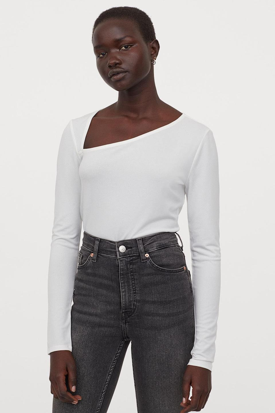 <p>Show off your collarbone with this flattering <span>Long-sleeved Top</span> ($10).</p>