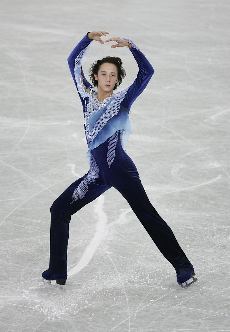 Performing during the men's qualifying free skate at the ISU World Figure Skating Championships at the Luzhniki Sports Palace on March 14, 2005, in Moscow.