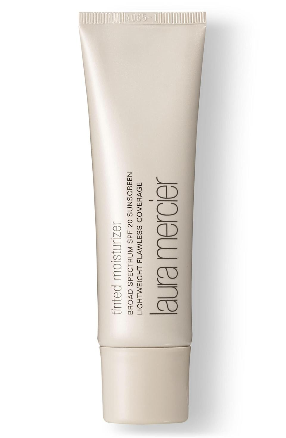 """<h3><strong>Laura Mercier Tinted Moisturizer SPF 20</strong></h3> <br>You know this beige tube as everyone's favorite no-makeup makeup, for good reason: It glides on evenly over any serum or cream (finger-blending recommended) for the thinnest veil of a tint that's light, radiant, and protective. <br><br><strong>Laura Mercier</strong> Tinted Moisturizer, $, available at <a href=""""https://go.skimresources.com/?id=30283X879131&url=https%3A%2F%2Fwww.lauramercier.com%2Ftinted-moisturizer-prod210061.html"""" rel=""""nofollow noopener"""" target=""""_blank"""" data-ylk=""""slk:Laura Mercier"""" class=""""link rapid-noclick-resp"""">Laura Mercier</a><br>"""