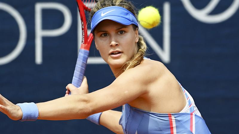 Eugenie Bouchard, pictured here in action at the Prague Open.