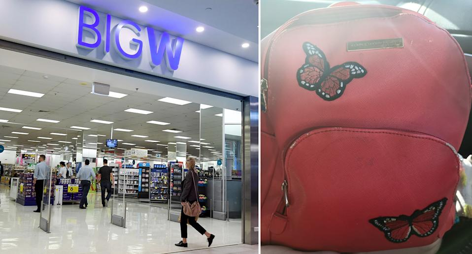 A Big W entry (left) and a backpack (right) that a mother claims she was instructed to leave outside a Big W store.