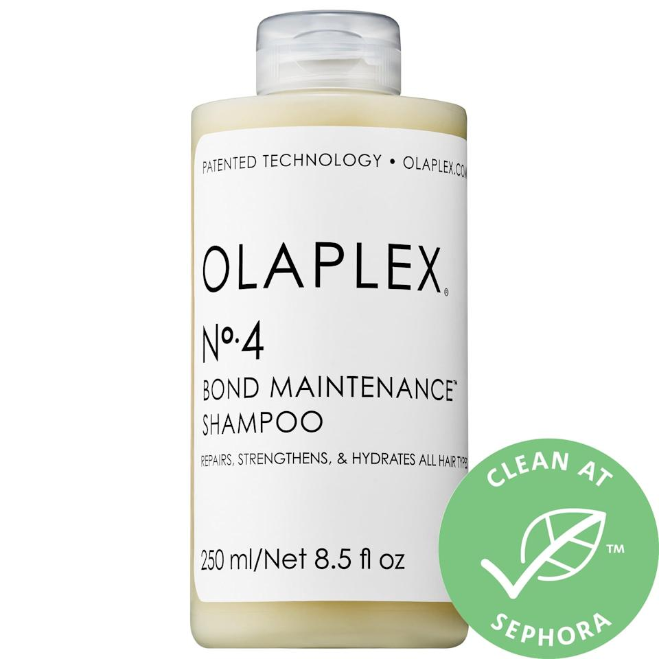 """<p>This <a href=""""https://www.popsugar.com/buy/Olaplex-4-Bond-Maintenance-Shampoo-578809?p_name=Olaplex%20No.%204%20Bond%20Maintenance%20Shampoo&retailer=sephora.com&pid=578809&price=14&evar1=bella%3Aus&evar9=47520410&evar98=https%3A%2F%2Fwww.popsugar.com%2Fbeauty%2Fphoto-gallery%2F47520410%2Fimage%2F47520418%2FOlaplex-No-4-Bond-Maintenance-Shampoo&list1=hair%2Csephora%2Cshampoo%2Cconditioner%2Cbeauty%20shopping%2Cstaying%20home&prop13=mobile&pdata=1"""" class=""""link rapid-noclick-resp"""" rel=""""nofollow noopener"""" target=""""_blank"""" data-ylk=""""slk:Olaplex No. 4 Bond Maintenance Shampoo"""">Olaplex No. 4 Bond Maintenance Shampoo</a> ($14-$28) also mends broken bonds in hair so frizz and split ends are reduced as it softens and cleanses.</p>"""