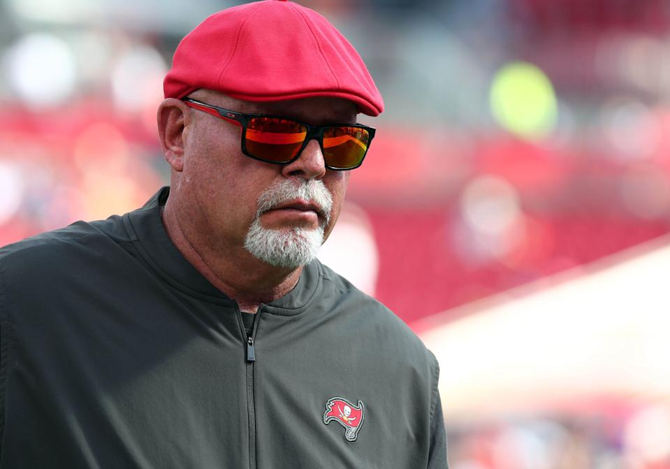 Dec 8, 2019; Tampa, FL, USA; Tampa Bay Buccaneers head coach Bruce Arians prior to the game against the Indianapolis Colts at Raymond James Stadium. Mandatory Credit: Kim Klement-USA TODAY Sports