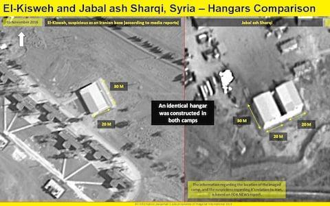 <span>Satellite images show hangars at the new base (right) which appear similar to one at a base attacked by Israel in December (left)</span> <span>Credit: ImageSat International </span>