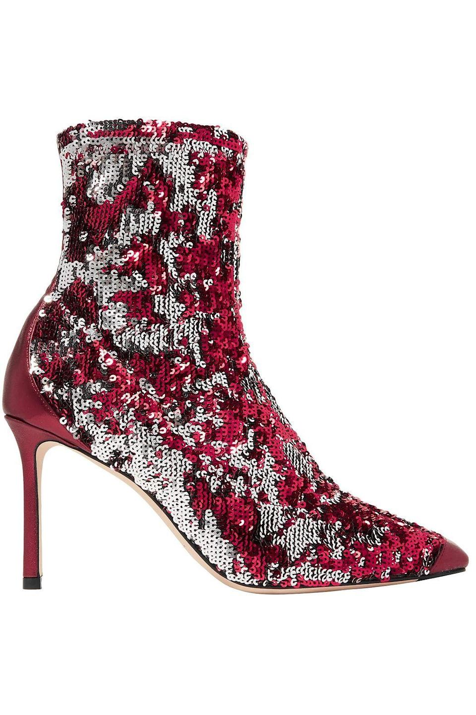 """<p><strong>JIMMY CHOO</strong></p><p>theoutnet.com</p><p><strong>$268.00</strong></p><p><a href=""""https://go.redirectingat.com?id=74968X1596630&url=https%3A%2F%2Fwww.theoutnet.com%2Fen-us%2Fshop%2Fproduct%2Fjimmy-choo%2Fboots%2Fhigh-heel-boots%2Fricky-85-metallic-leather-trimmed-sequined-stretch-knit-sock-boots%2F1473020371679968&sref=https%3A%2F%2Fwww.elle.com%2Ffashion%2Fshopping%2Fg33595007%2Fthe-outnet-clearance-summer-2020-sale%2F"""" rel=""""nofollow noopener"""" target=""""_blank"""" data-ylk=""""slk:Shop Now"""" class=""""link rapid-noclick-resp"""">Shop Now</a></p>"""
