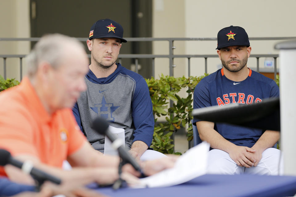 An apology from owner Jim Crane and statements from Alex Bregman and Jose Altuve did little to quell the anger around baseball over the Astros' 2017 sign-stealing operation. (Photo by Michael Reaves/Getty Images)